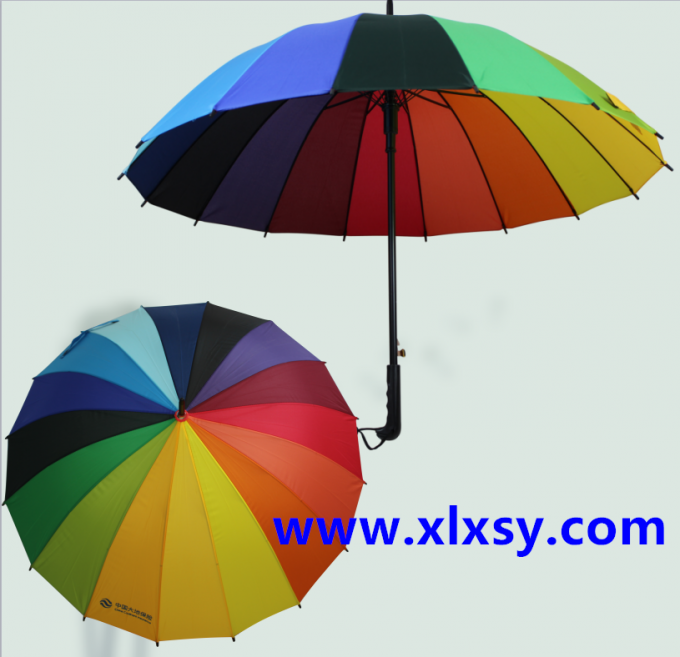 190T High Density Compact Rainbow Umbrella Water Resistant With Size 21 Inch * 16 K