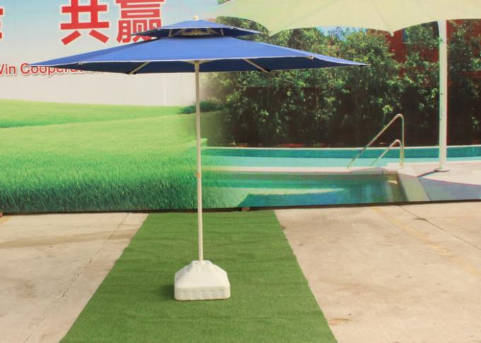 Steel Tube Blue Sun Beach Umbrella With 30L Water Tank Base , Easy Open