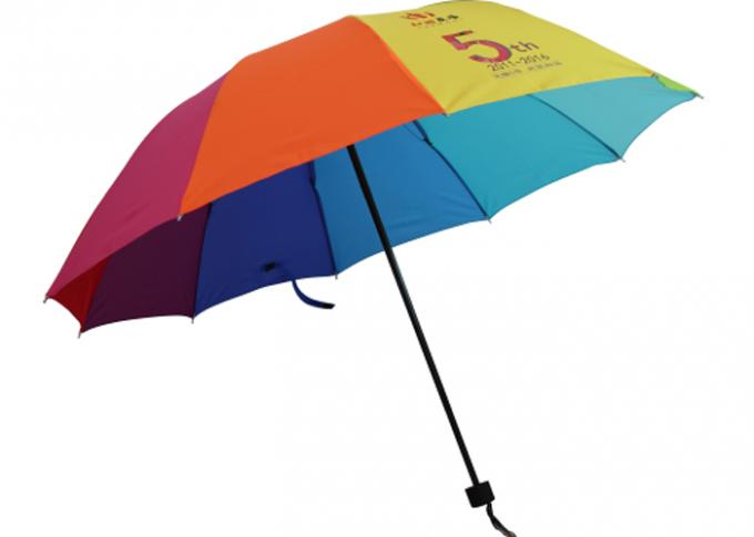 23 Inch 10K Manual Open Umbrella Rainbow Color Steel Frame , Pongee Fabric