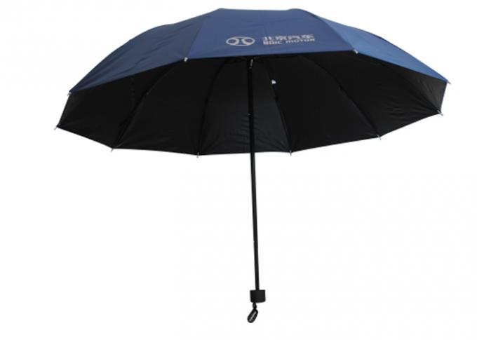 3 Fold Windproof Folding Umbrella , Solid Pongee Sun And Rain Umbrella For Adult