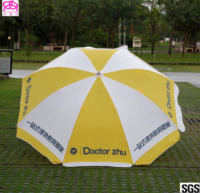 Round Shape Outdoor Advertising Beach Umbrellas Aluminum Pole With Coated