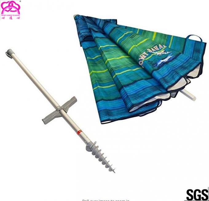 Custom Reusable Windproof Waterproof Commercial Beach Umbrella Telescoping Pole