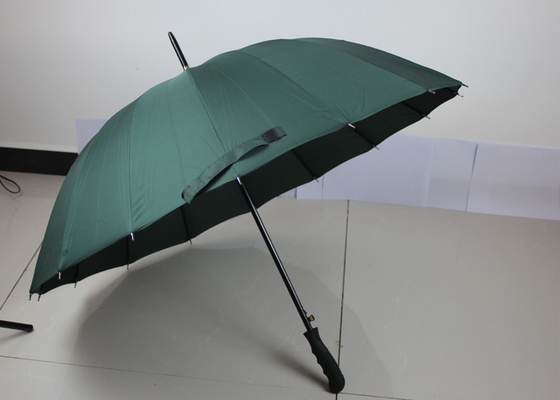 Windproof Compact Auto Open Umbrella , Green Advertising Plain Golf Umbrella
