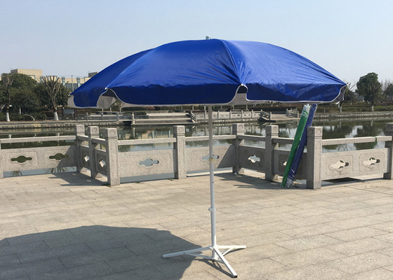 Outdoor Promotional Custom Printed Patio Umbrellas With Base , Steel Wire Ribs