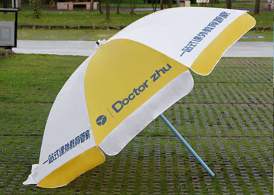 Finely Processed Outdoor Advertising Umbrellas 2m Round Shaped , Yellow And White