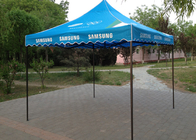 China Blue Steel Canopy 3x3 Pop Up Gazebo Hand Printing For Beach Advertising Trade Show company