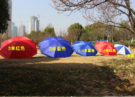 Polyester Fabric Outdoor Sun Umbrellas Customized Logo For Commercial Street