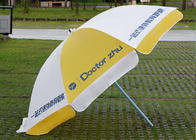 China Finely Processed Outdoor Advertising Umbrellas 2m Round Shaped , Yellow And White company