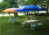 China Outdoor Garden Table Parasol , Polyester Fabric Patio Table Umbrella 4C Print company