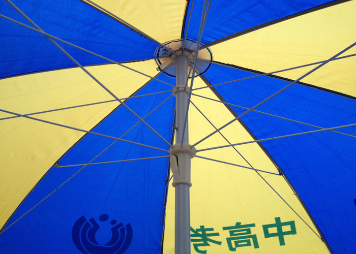 Manual Open Branded Patio Umbrellas Hand Printed With Adjustable Height