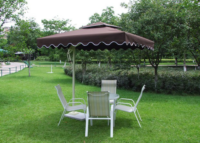 2.5 M Square Offset Patio Umbrella Stainless Steel Frame For Restaurants