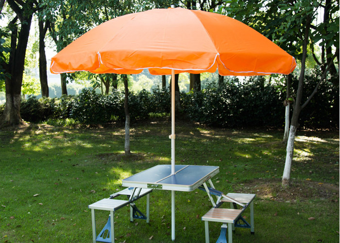 Steel Frame Outside Patio Table Umbrella Stand Alone Parasol For - Picnic table parasol