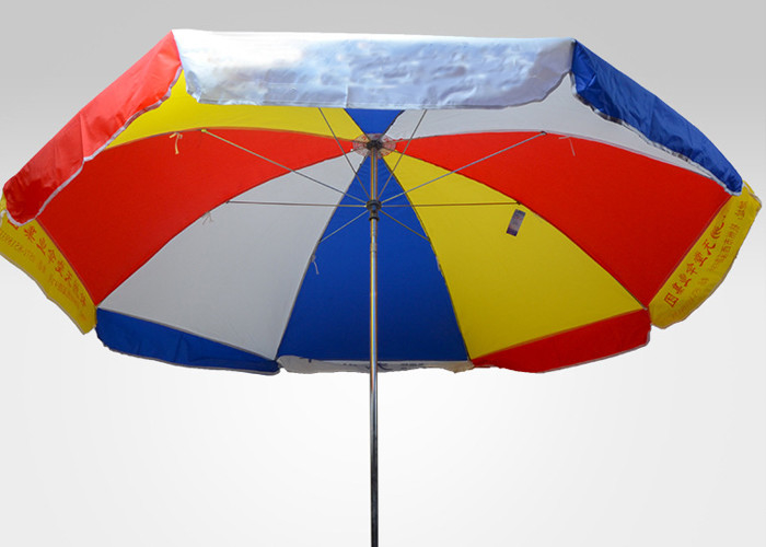 Rainbow Large Outdoor Parasol Umbrella With Heat Transfer Printing , Polyester Fabric