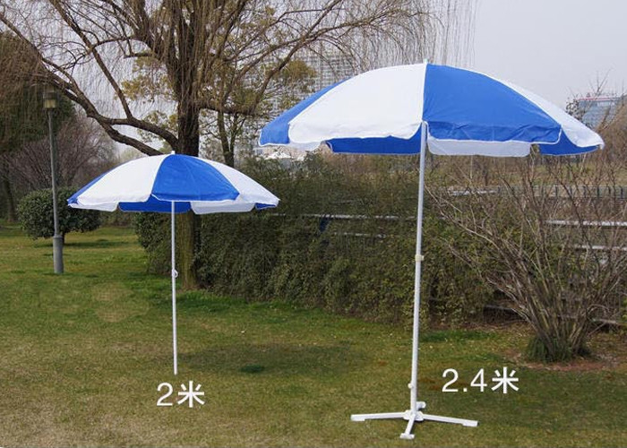 Blue And White Outdoor Garden Umbrellas With Your Logo Printed , White Shaft