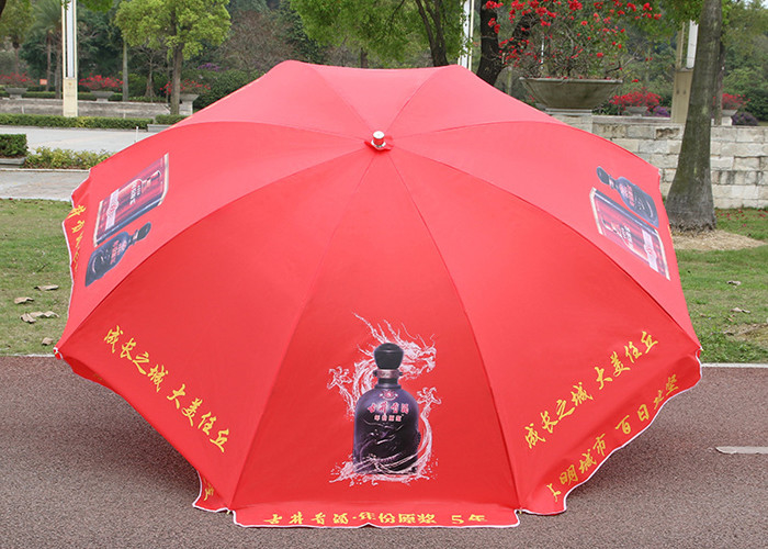 Full Color Print Outdoor Parasol Umbrella Windproof With White Powder Coated Shaft