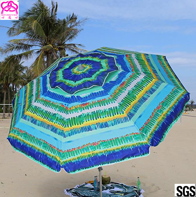 Windproof Sunshade Parasol Beach Umbrella Custom Size 2.4m / 2.5m