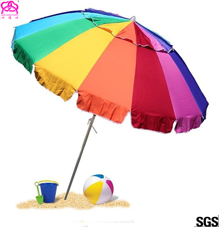 2.8m / 3m Collapsible Sun Beach Umbrella With Heat Transfer Printing