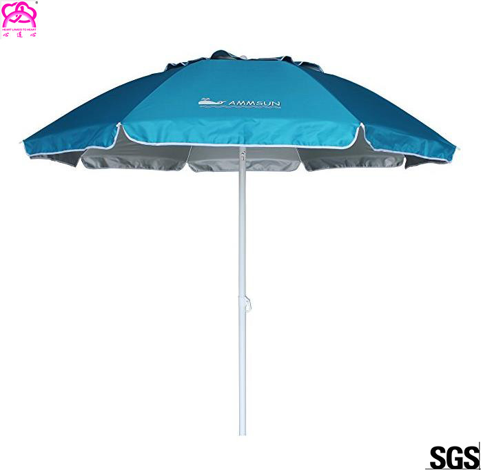 Custom Double Top Beach Outdoor Sun Umbrella Blue 210D Oxford Fabric Umbrella