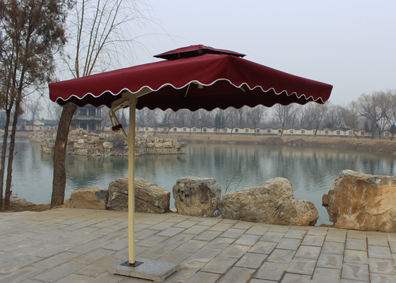 Sunshade Market Rectangular Outdoor Umbrella Windproof Without Water Tank Base