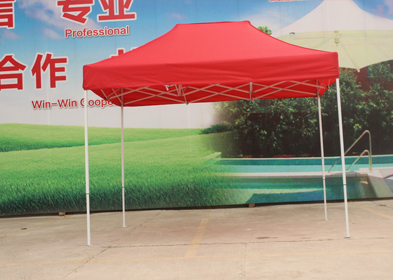 Portable Red Pop Up Market Tent 420D Oxford Fabric Sun Protection For Garden