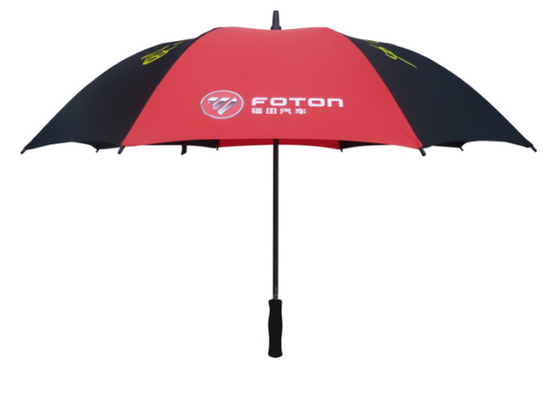 OEM Advertising Golf Umbrella Wind Resistant With Black And Red Color