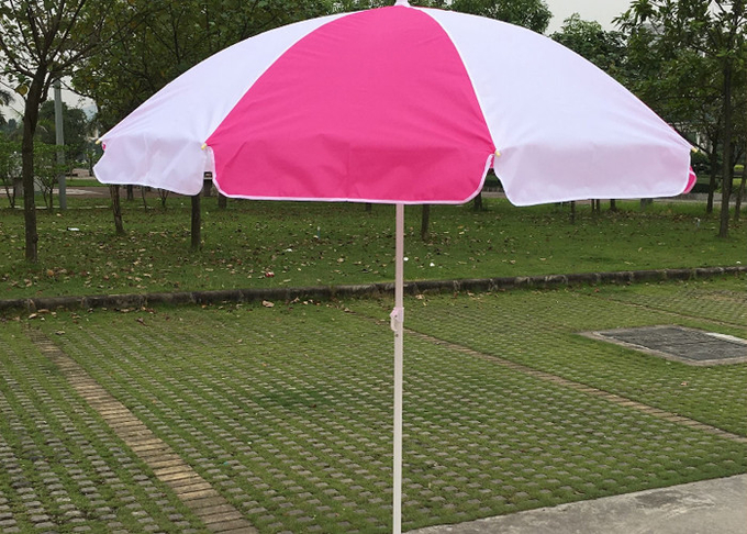 Foldable Pink And White Outdoor Sun Umbrellas Nylon